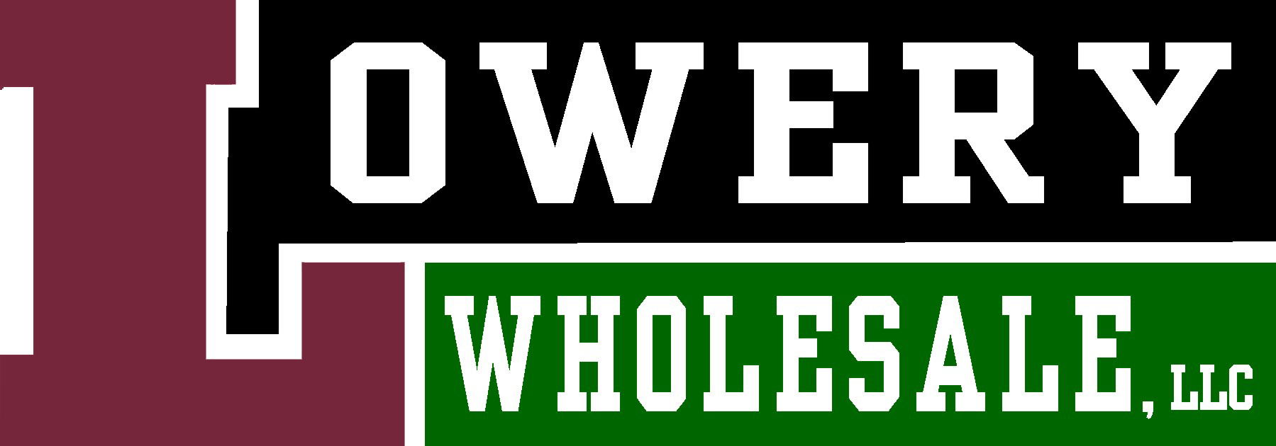 A maroon, green and black logo for Lowery Wholesale, LLC.