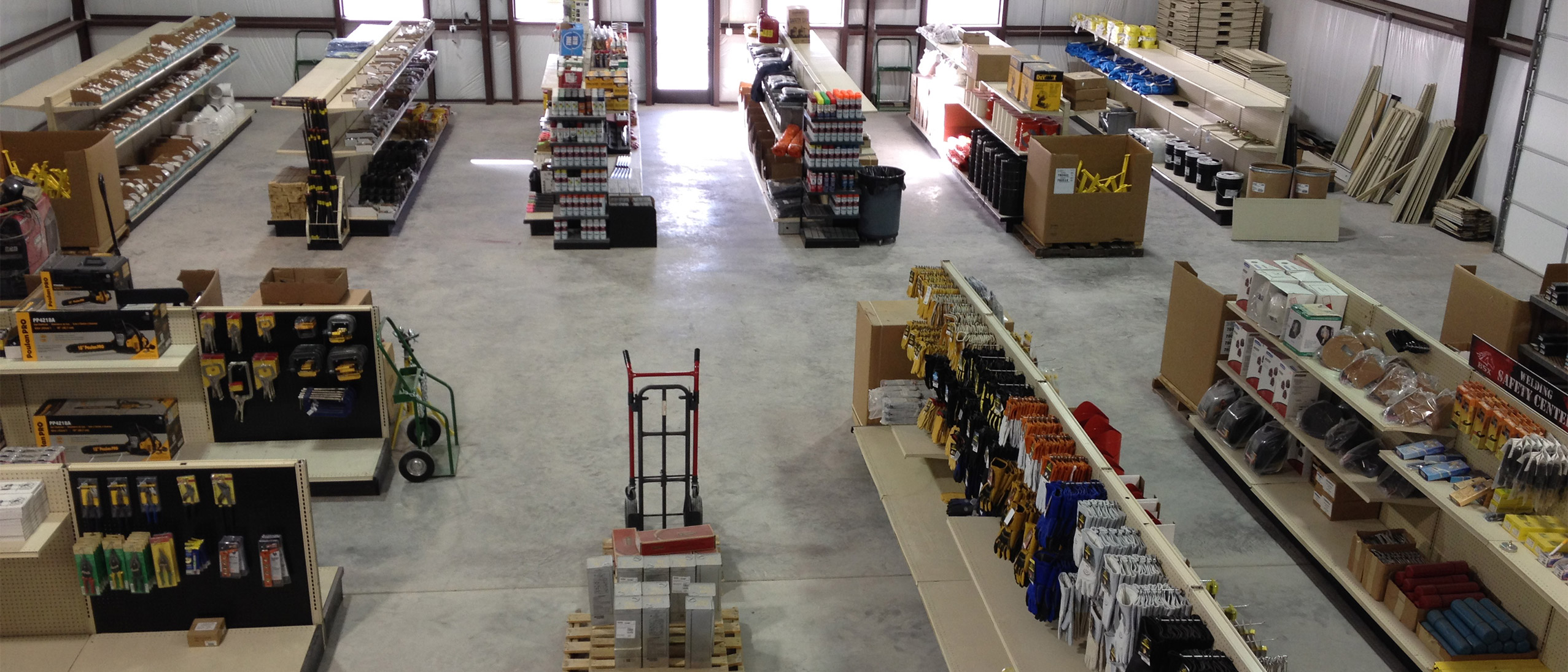 An overhead view of the retail floor at Lowery's wholesale, including metals.