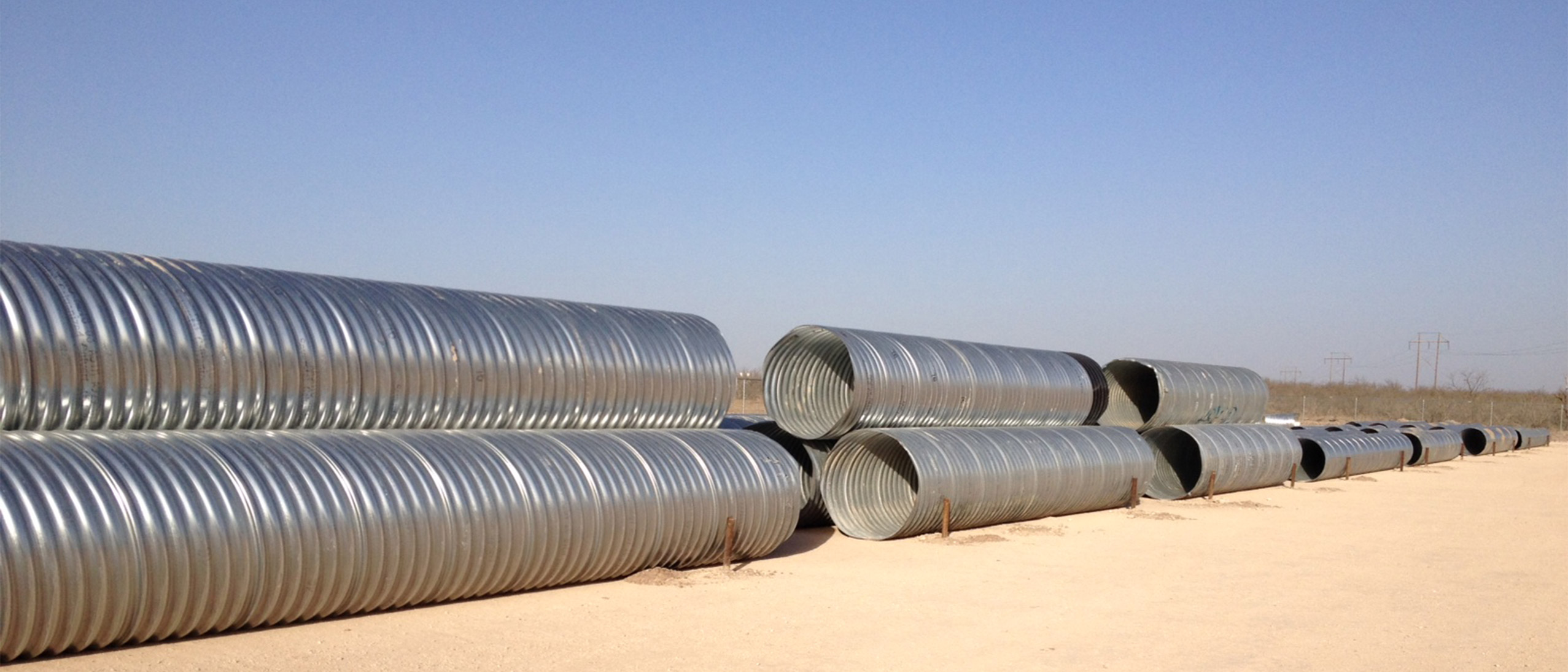 Steel tubes for a culvert application in storage at Lowery's Wholesale metals.